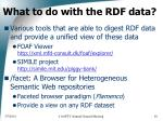 what to do with the rdf data