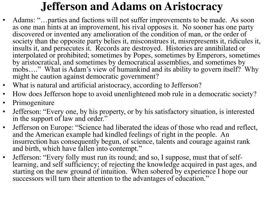 Jefferson and Adams on Aristocracy