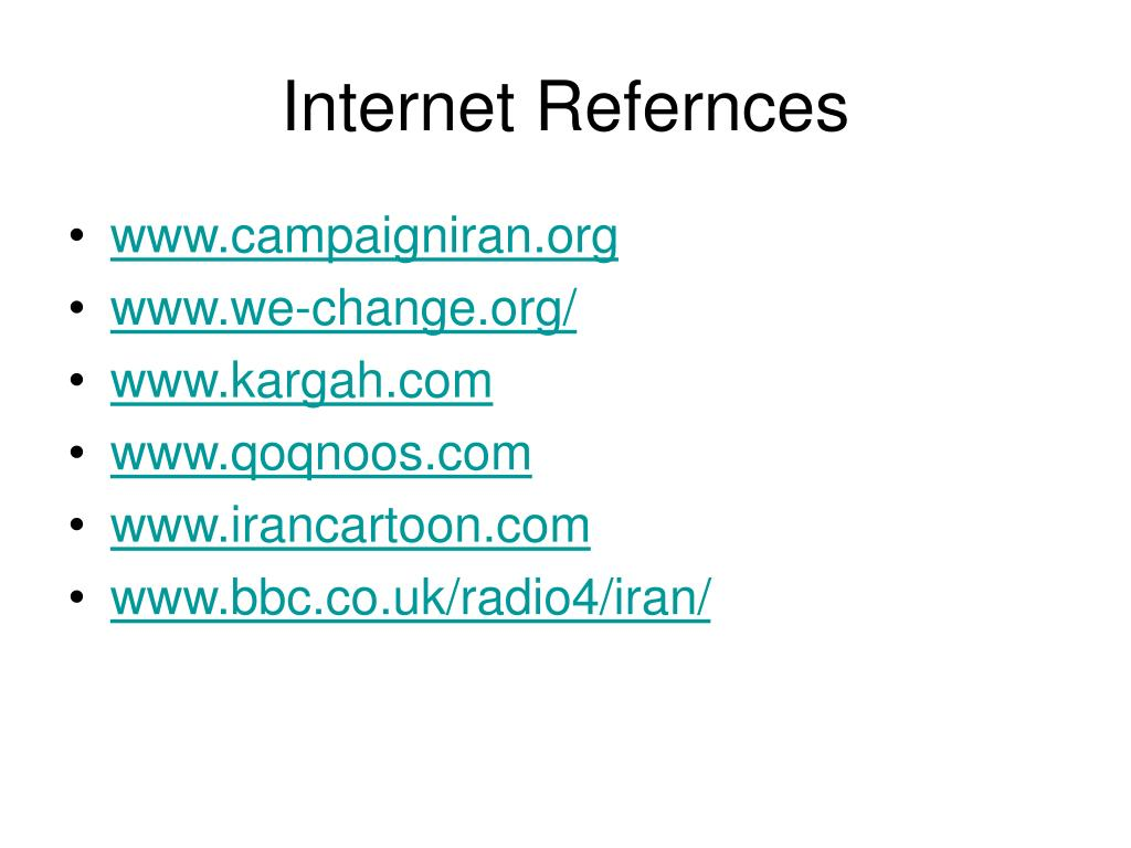 Internet Refernces