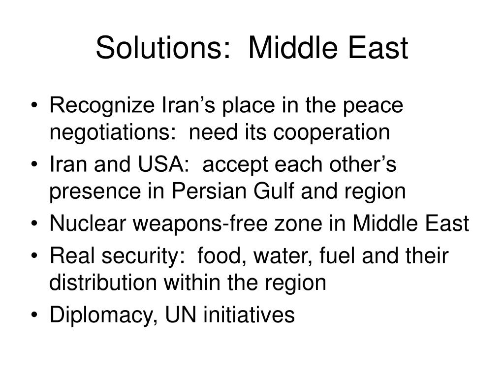 Solutions:  Middle East