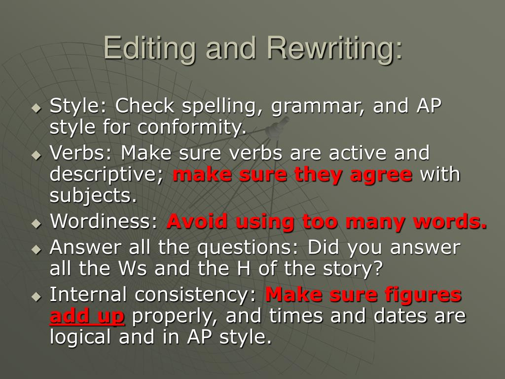 Editing and Rewriting: