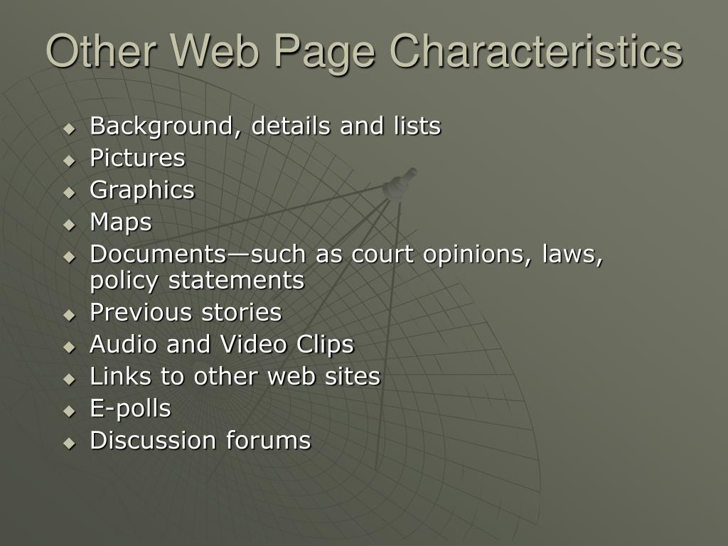 Other Web Page Characteristics