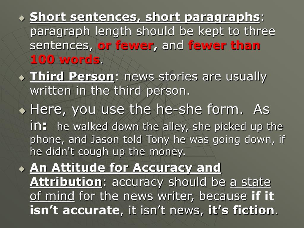 Short sentences, short paragraphs