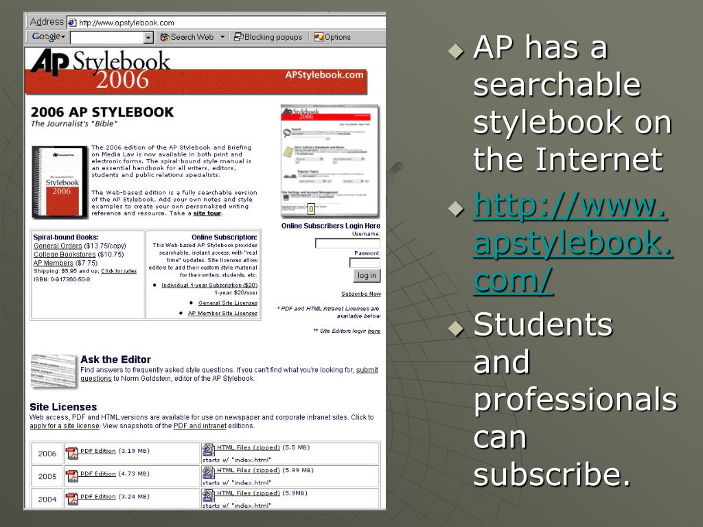 AP has a searchable stylebook on the Internet