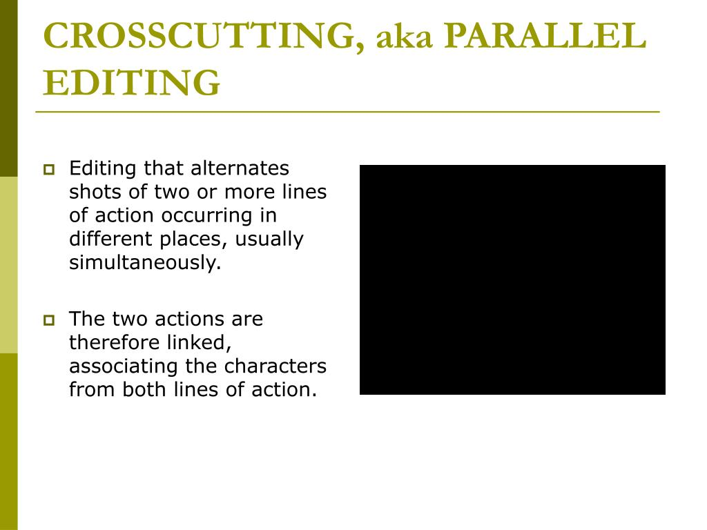 CROSSCUTTING, aka PARALLEL EDITING