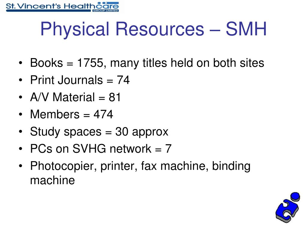 Physical Resources – SMH