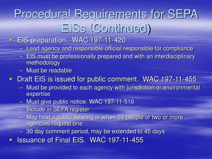 Procedural Requirements for SEPA EISs (Continued)