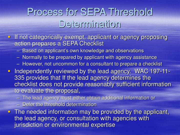 Process for SEPA Threshold Determination