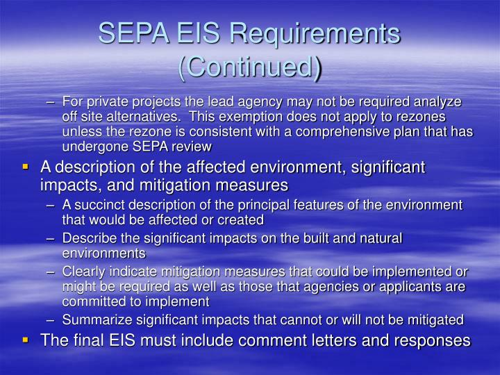 SEPA EIS Requirements (Continued)