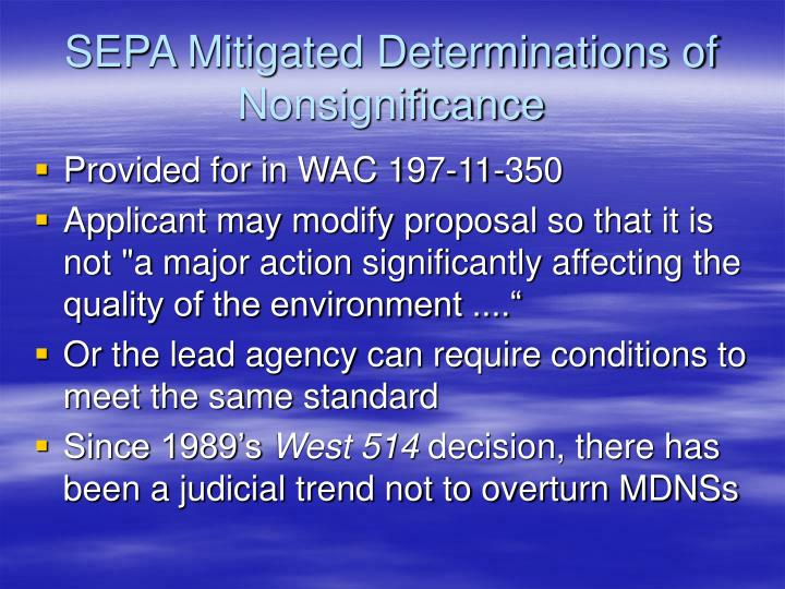 SEPA Mitigated Determinations of Nonsignificance