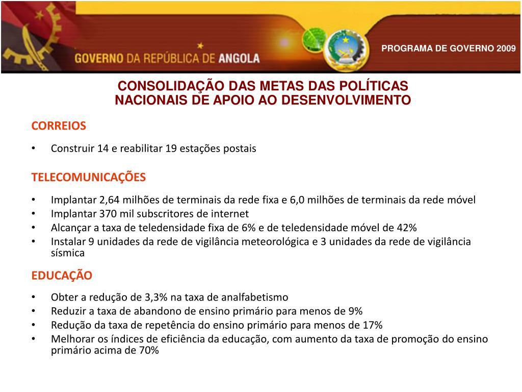CONSOLIDAÇÃO DAS METAS DAS POLÍTICAS