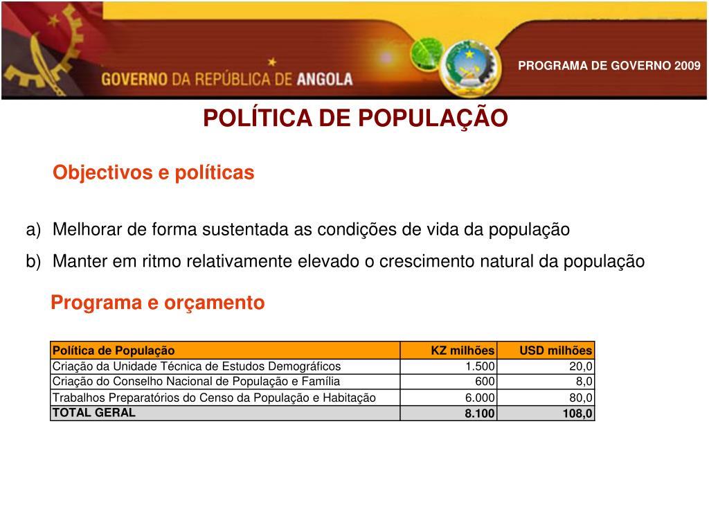 POLÍTICA DE POPULAÇÃO