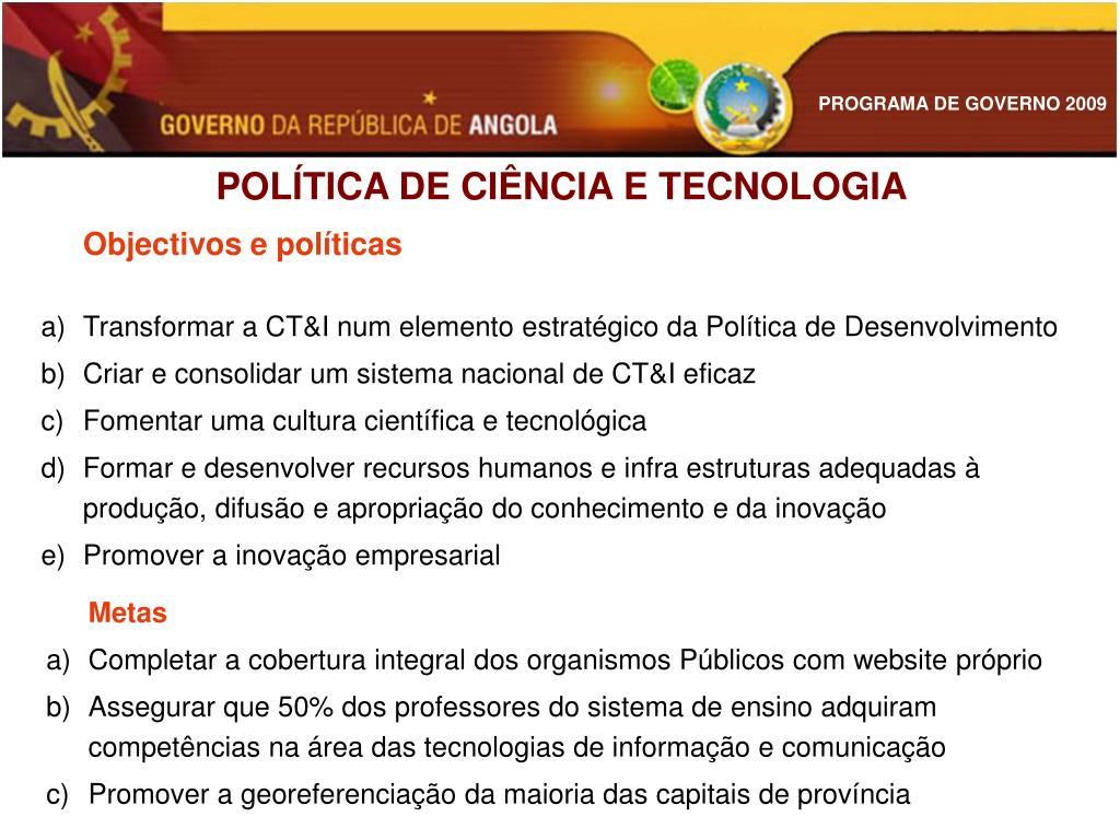 POLÍTICA DE CIÊNCIA E TECNOLOGIA