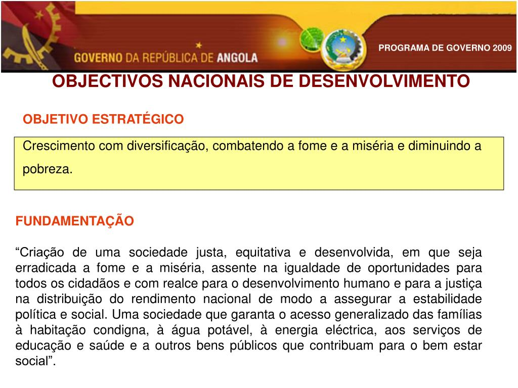 OBJECTIVOS NACIONAIS DE DESENVOLVIMENTO