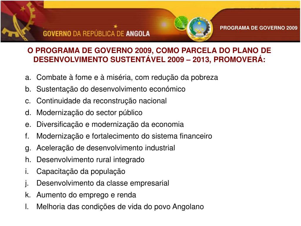 O PROGRAMA DE GOVERNO