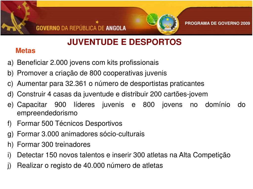 JUVENTUDE E DESPORTOS