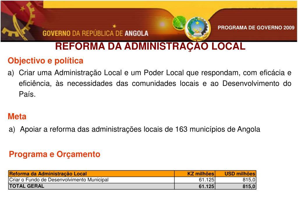 REFORMA DA ADMINISTRAÇÀO LOCAL