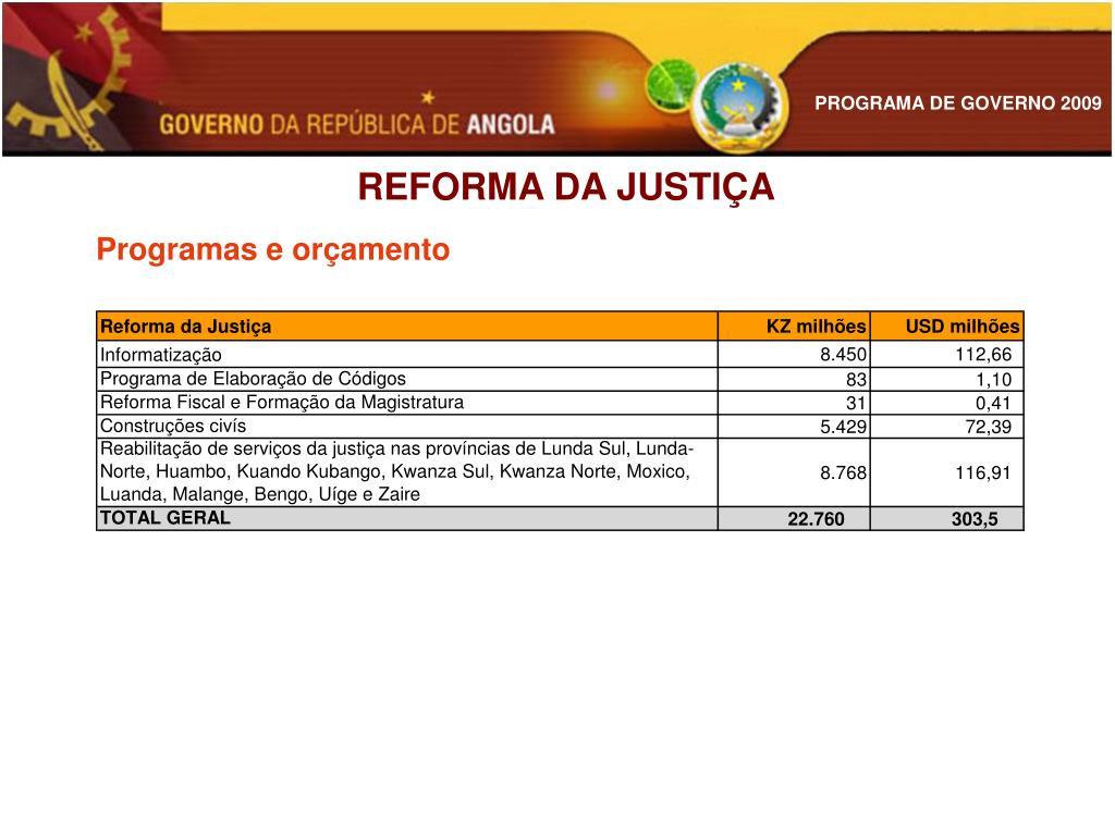 REFORMA DA JUSTIÇA