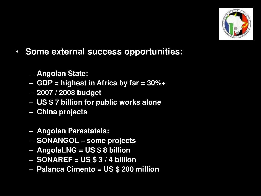 Some external success opportunities: