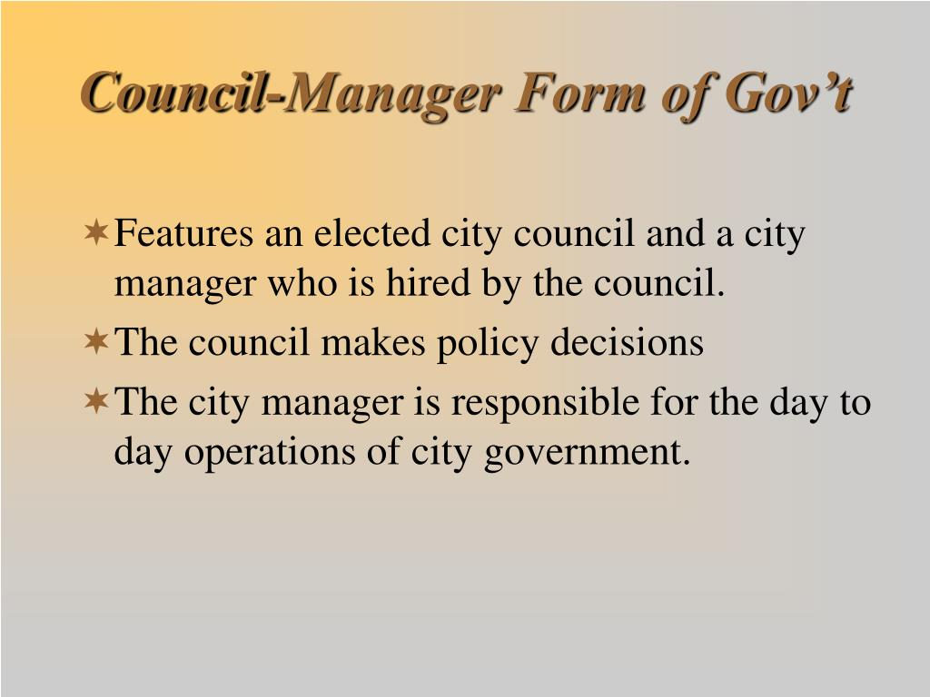 Council-Manager Form of Gov't