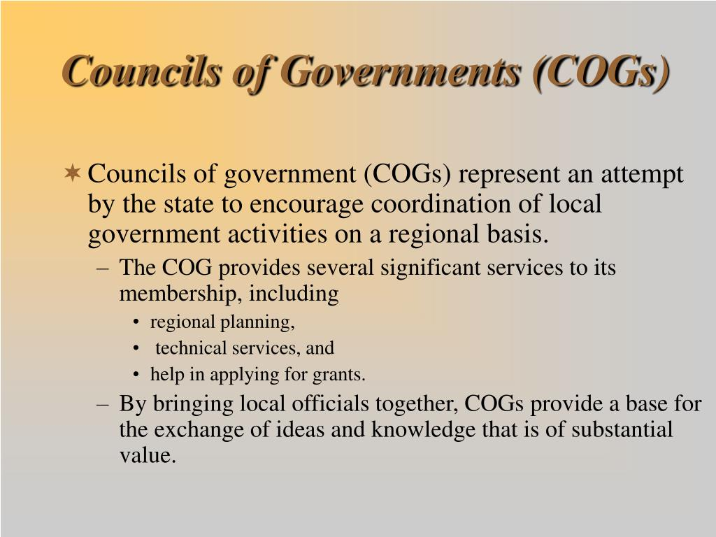 Councils of Governments (COGs)