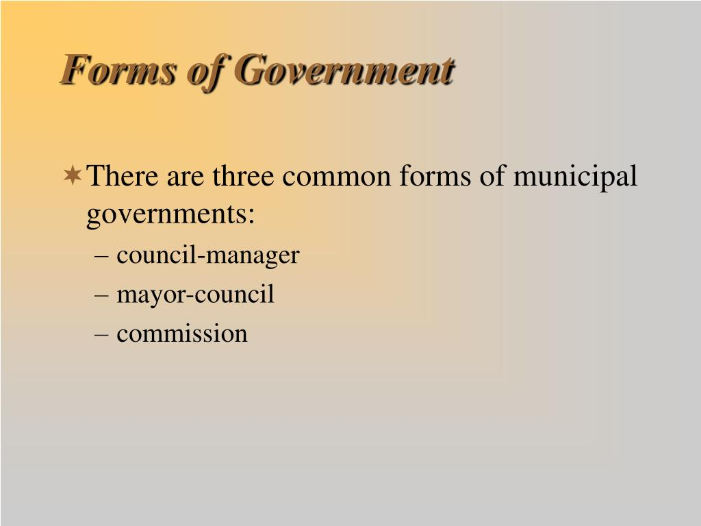Forms of Government