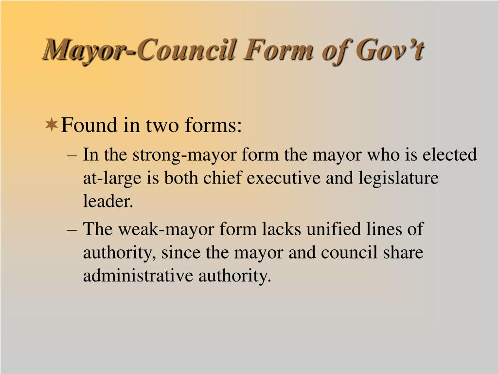 Mayor-Council Form of Gov't