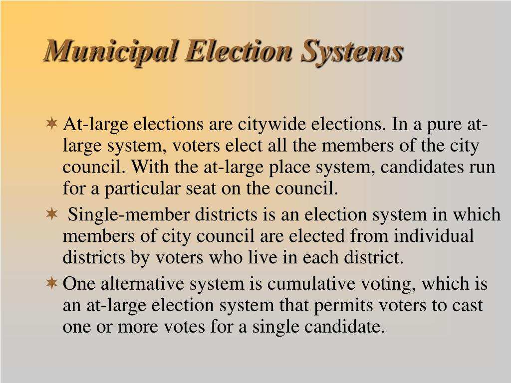 Municipal Election Systems