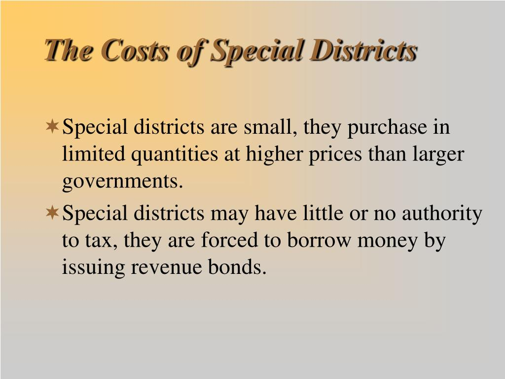 The Costs of Special Districts