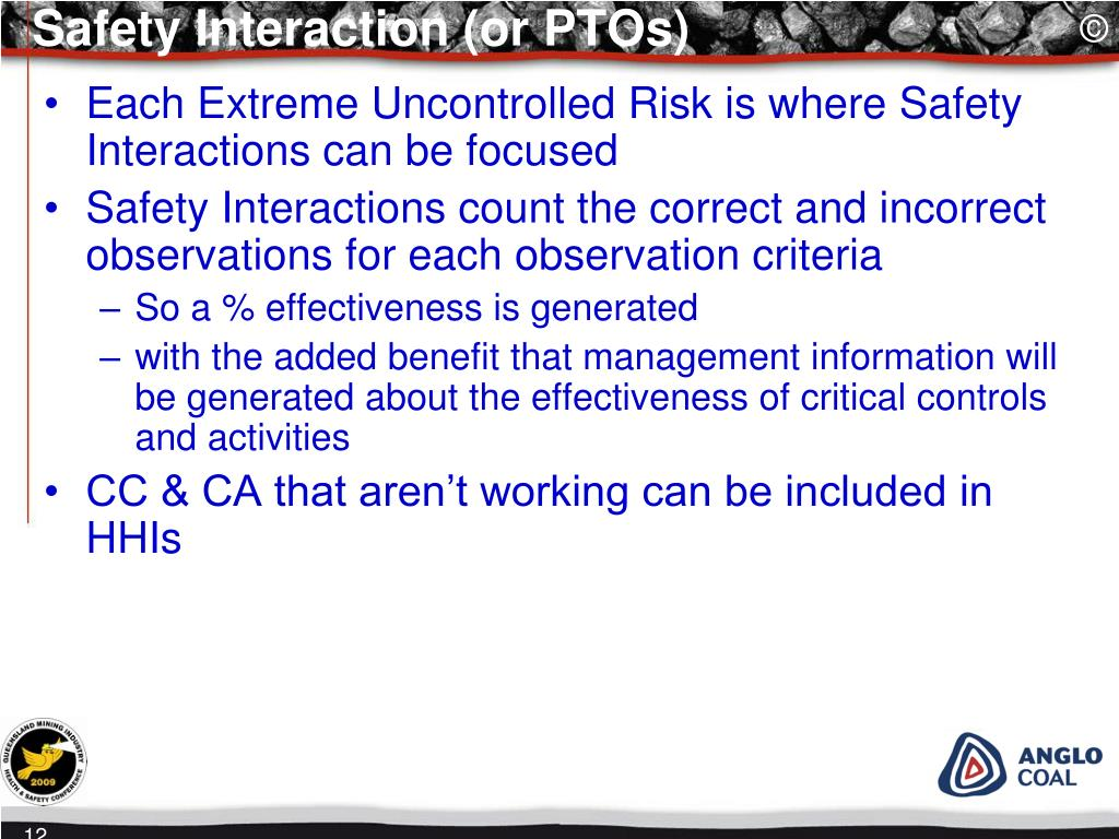 Safety Interaction (or PTOs)