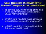 goal represent the majority of licensed therapists in the united states