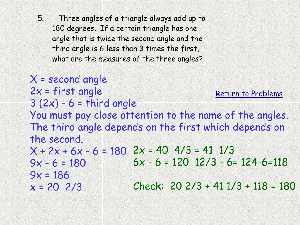 X = second angle