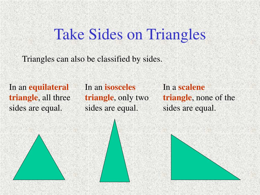 Take Sides on Triangles