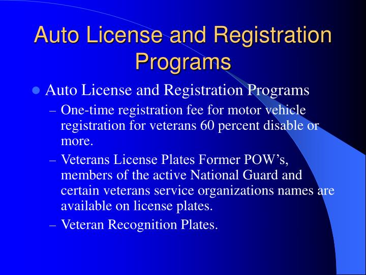 Auto License and Registration Programs
