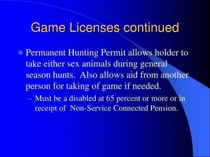 Game Licenses continued