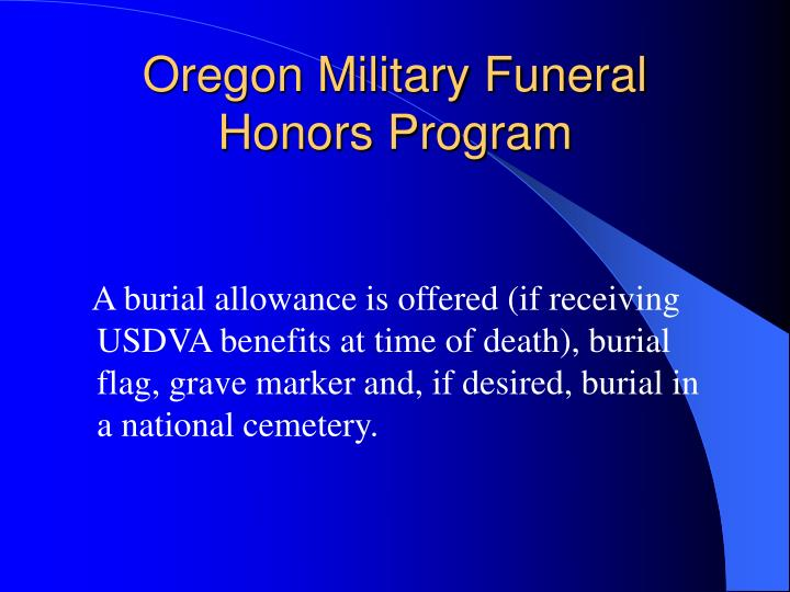 Oregon Military Funeral Honors Program