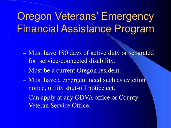 Oregon Veterans' Emergency Financial Assistance Program