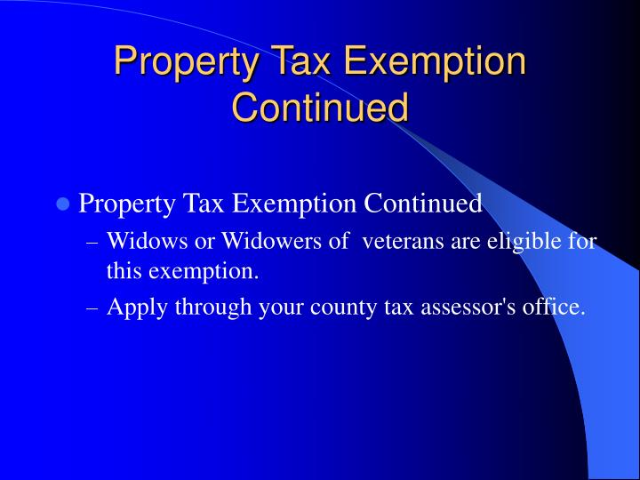 Property Tax Exemption Continued