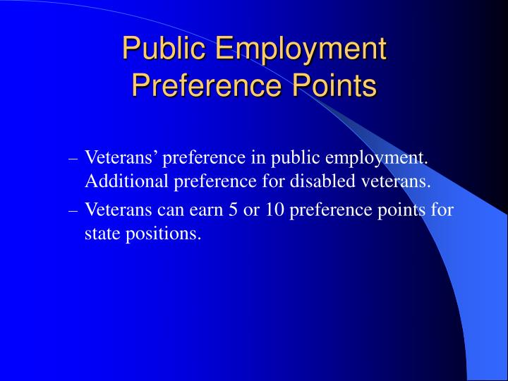 Public Employment Preference Points