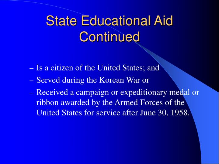 State Educational Aid Continued
