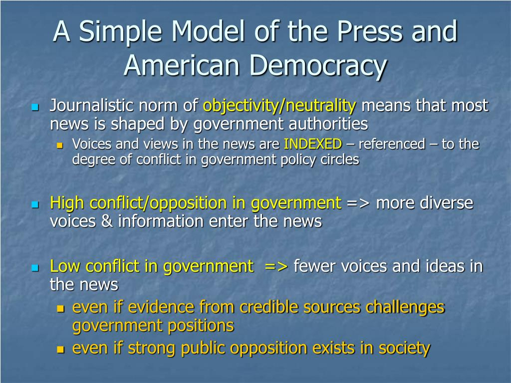 A Simple Model of the Press and American Democracy