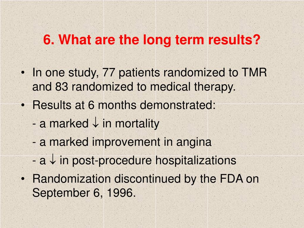 6. What are the long term results?