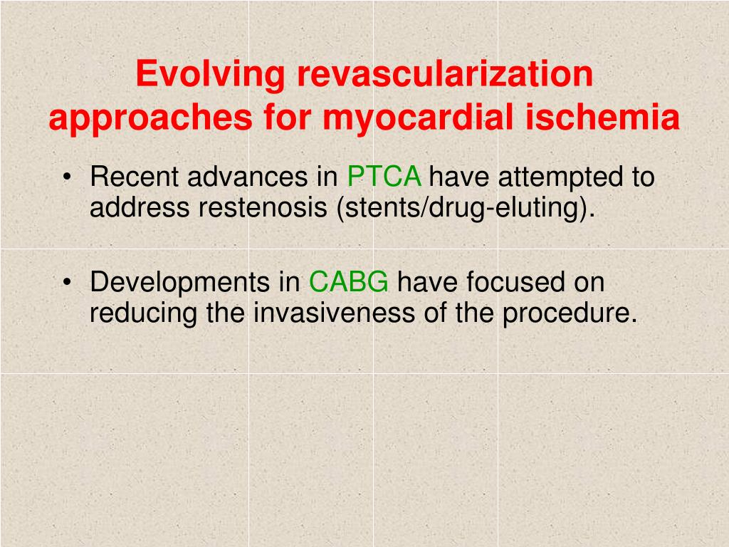 Evolving revascularization approaches for myocardial ischemia