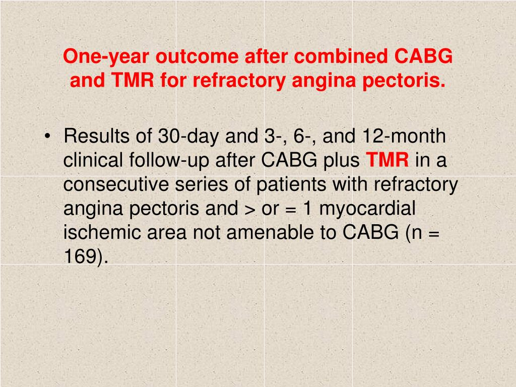 One-year outcome after combined CABG and TMR for refractory angina pectoris.