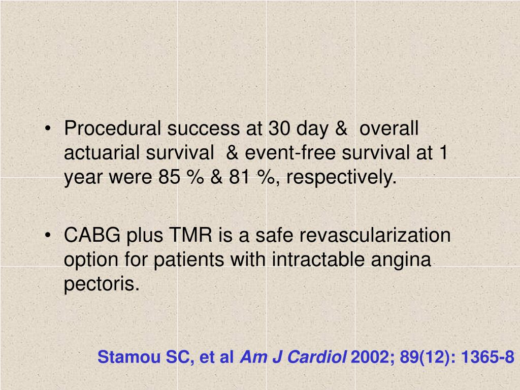 Procedural success at 30 day &  overall actuarial survival  & event-free survival at 1 year were 85 % & 81 %, respectively.