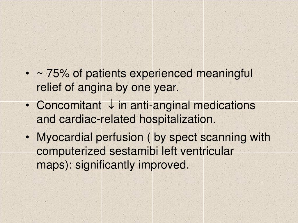 ~ 75% of patients experienced meaningful relief of angina by one year.