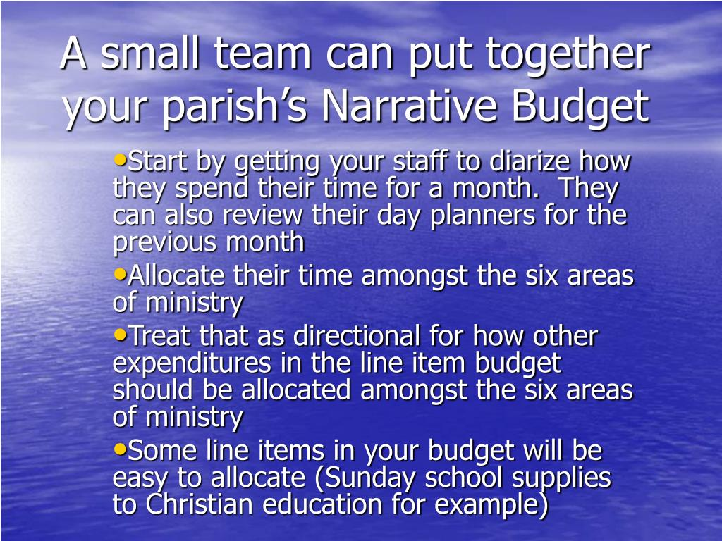 A small team can put together your parish's Narrative Budget