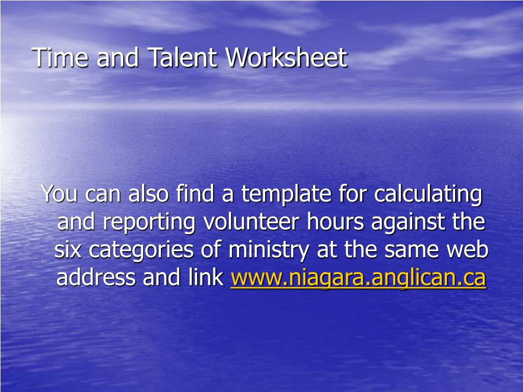 Time and Talent Worksheet