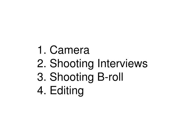 1 camera 2 shooting interviews 3 shooting b roll 4 editing
