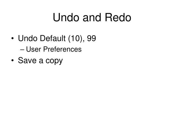 Undo and Redo